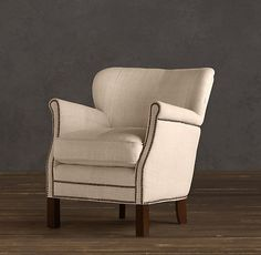 Nailhead. Professor's Upholstered Chair   Restoration Hardware: Very elegant! Would love to use in our library/den or the living room.