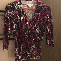 Fancy blouse zebra print purple white black Never worn no tag new fancy blouse slimmer fit in sleeves and stomach area New York & Company Tops Blouses