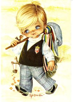 Gallarda Vintage Postcard, little Big Eyed Boy going for a Walk | par PrettyPostcards