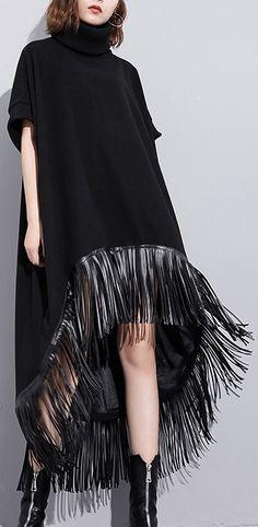 women black wool polyester dresses plus size low high design clothing dress  Fine tassel maxi dresses 489375943d1ba