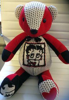 www.teddyangels.com Memory bear made from Betty Boop blanket!