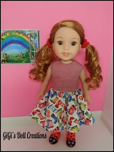 Handmade Doll Dress fits Wellie Wishers Dolls, WellieWisher, 14.5 inch Girl dolls, Doll Clothes, Puddle Jumper, Rain boots, Polka Dots,