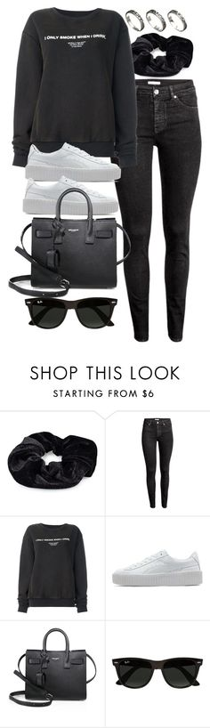 """""""Style #11567"""" by vany-alvarado ❤ liked on Polyvore featuring Pieces, H&M, Off-White, Puma, Yves Saint Laurent, Ray-Ban and ASOS"""
