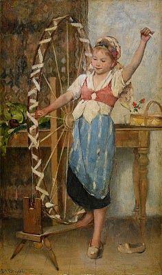 Emma Ekwall-Scheutz (Swedish painter) 1883 - Den Lilla Spinnerskan (The Little Spinner), s., oil on panel, 51 × 31 cm. Figure Painting, Painting & Drawing, Illustrations, Illustration Art, Art Du Fil, Art Moderne, Art History, Art For Kids, Cool Art