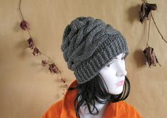 Womens Hat Slouchy Beanie Slouch Hats Oversized Baggy cabled hat womens accessory GREY Hand Made Knit