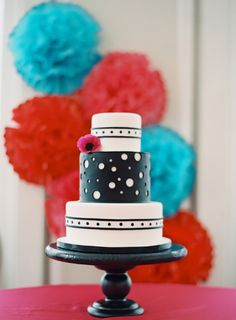 AMAZING black and white polka dot wedding cake! // Photo by Odalys Mendez Photography, Design by Ashley Baber Weddings, see more: http://theeverylastdetail.com/colorful-kate-spade-inspired-wedding-ideas/
