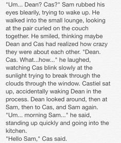 "Destiel: Closets and Cuddles"" 4/23 // Written by The Tardis-Impala"