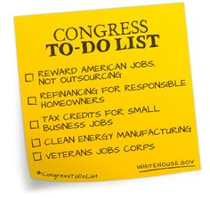 """Today, President Obama will call on Congress to act on a """"To Do List"""" that will create jobs and help restore middle class security.  http://wh.gov/m5h"""