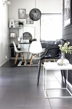 Two seating nooks in a Scandinavian living room.