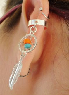 Dream Catcher Ear Cuff YOU CHOOSE Bead COLOR by MidnightsMojo, $16.00