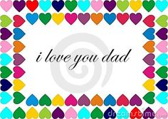 Picture frame made of colorful hearts with a text representing father's day