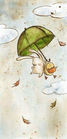 Rabbit and a Duck Flying Away Holding on to an Umbrella Illustration // Irisz Agócs Art And Illustration, Illustration Wallpaper, Rabbit Illustration, Book Illustrations, Watercolor Illustration, Umbrella Art, Bunny Art, Cute Art, Character Design
