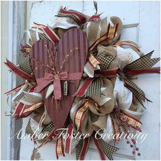 Rustic Burlap Valentine's Day Wreath by FosterCreativity on Etsy