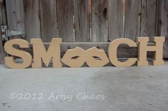 Unfinished Wood SMOOCH Letters Decor Valentine's Day by artsychaos, $15.99