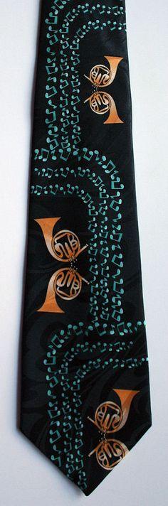New Twin French Horns Mens Necktie Brass Horn Musical Instrument Music Neck Tie #StevenHarris #NeckTie
