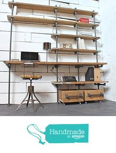 Caroline Reclaimed Scaffolding Boards and Dark Steel Pipe Industrial Desk and Shelves with Storage Boxes on Wheels from Urban Grain Interiors http://www.amazon.com/dp/B01BNR9FDQ/ref=hnd_sw_r_pi_dp_T1Y3wb1REEZ0H #handmadeatamazon