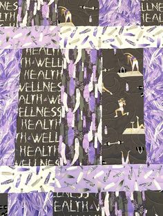 """Wellness and exercise 44"""" x 56"""" handmade Purple Quilts, Custom Quilts, Monogram Letters, Baby Quilts, Custom Design, Wellness, Exercise, Frame, Fabric"""
