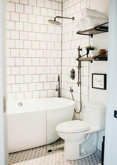 Bathtub Shower Combo, Shower Over Bath, Bathroom Tub Shower, Bathroom Renos, Bathroom Subway Tiles, Bathroom Ideas, Condo Bathroom, Bath Tubs, Master Bathroom