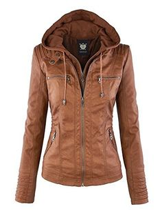 Lock and Love LL WJC663 Womens Removable Hoodie Motorcyle Jacket XXL Camel