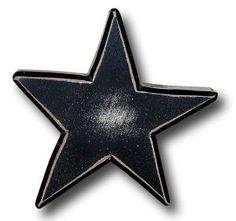 "One World Kids Handpainted Large Drawer Knob, Distressed Star Black. 3"""" x 3"""""