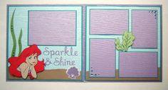 Pre Made Disney Princess Ariel 12x12 Scrapbook Layout Cricut Embellishments | eBay