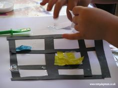 exploring Mondrian with preschoolers creating a tissue paper collage