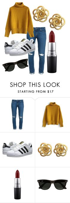 """Dope Casual"" by ajeanicole on Polyvore featuring Paige Denim, Chicwish, adidas Originals, MAC Cosmetics and Ray-Ban"