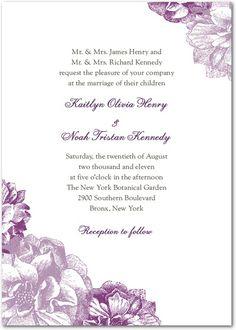 Sweet Peonies: Eggplant  Wedding Paper Divas Very pretty invites!