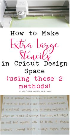 How to Make Extra Large Oversized Stencils in Cricut Design Space Meeting and Overlapping Methods - Repurposing Junkie I will walk you through two ways to How to Make Extra Large Oversized Stencils in Cricut Design Space Meeting and Overlapping Methods Cricut Stencils, Cricut Fonts, Cricut Vinyl, Cricut Apps, Stencil Templates, Cricut Air 2, Cricut Help, How To Use Cricut, Large Stencils