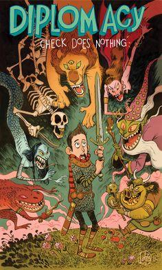 art, illustration, figure, boy, knight, 3/4 view, holding, scared, skeleton, monser, animal, lion, fantasy, //  Cory Loftis
