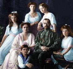 The Nicholas II Romanov Family: Tsar Nicholas II (Nikolay Alexandrovich Romanov) (1868-1918) Russia & wife Tsarina Alexandra Feodorovna (1872-1918) Hesse & children Olga (1895-1918), Tatiana (1897-1918), Maria (1899–1918), Anastasia (1901-1918) & Tsarevich Alexei (1904-1918).
