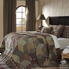 Brown Burgundy Green Plaid Lodge Log Cabin Country Home Cotton Quilt Bedding Set #VhcBrands #Country