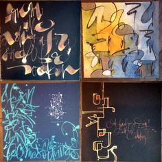"Had the wonderful opportunity to spend my birthday weekend doing art and calligraphy in Mike Gold's ""Find Your Inner Picasso"" workshop. Mike is an artist at American Greetings. Super talented, kind and generous. We had so much fun and learned a ton of new stuff! These are just a few pieces from the many we did. #mikegold #lettering #calligraphy #julie wildman calligraphy"
