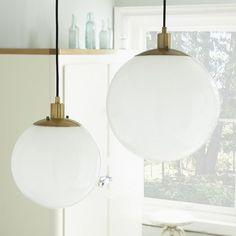 large globe  60 W guest bedroom  Globe Pendant - Milk Finish | West Elm