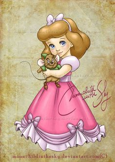 Child Cinderella, Disney Fan Art by moonchildinthesky Disney Pixar, Disney Amor, Disney Kunst, Disney Fan Art, Disney And Dreamworks, Disney Love, Disney Magic, Disney Characters, Chibi Disney