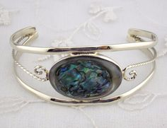 Alpaca Mexican Silver Cuff Bracelet Abalone Shell Oval  Fashion Jewelry NEW #Unbranded #Bangle