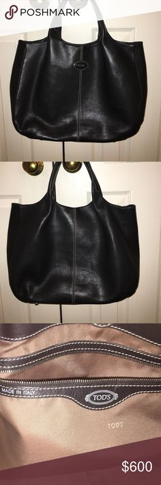 Sale! Gorgeous TODS Butter soft black leather  bag New markdown! Gorgeous 😍 black  Italian leather TODS bag purchased in 2013 from Bluefly  Buttery soft leather and a soft shape makes this bag very lightweight and yet classically elegant. Some minor creasing on leather (see back of bag) from normal wear. No lowball offers please; no trades. Tod's Bags Totes