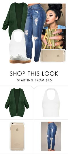"""rainy"" by aribearie ❤ liked on Polyvore featuring Topshop and Puma"