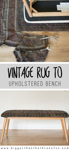 I came across a distressed and dirty vintage rug and I knew it would be perfect for a bench. Hop over to see this vintage rug upholstered bench tutorial!
