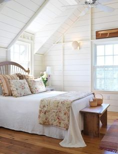 Shiplap on the attic walls - great bedroom!