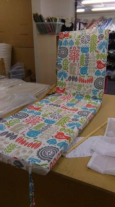 box seat cushion, fresh out of our workroom Fabric Boxes, Seat Cushions, Blinds, Curtains, Fresh, Blanket, Bed, Furniture, Home Decor