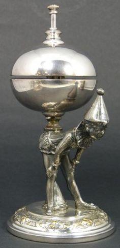Antique European Silverplate Pierrot Table Bell