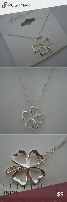 """925 Sterling Silver 4 Leaf Clover Necklace, NWT Great for any Irish gal, St. Patty's Day, or just anything you darn well would like! This measures 18"""" and is bran new! Jewelry Necklaces"""