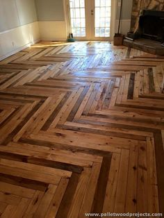 349 best Pallet Flooring images on Pinterest in 2018   Crates  Diy     Chevron Style Pallet Flooring