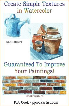 Creating Textures in Watercolor – Guaranteed to Improve Your Paintings! Creating textures in watercolor paintings is easy with a few simple techniques. Watercolor Tips, Watercolour Tutorials, Watercolor Pencils, Watercolor Techniques, Watercolor Landscape, Watercolour Painting, Painting Techniques, Simple Watercolor, Tattoo Watercolor