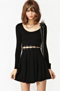 Laced Skater Dress - Black