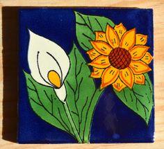 9 azulejos Mexicanos pintado a mano 4x4 por MexicanTiles en Etsy                                                                                                                                                                                 Más