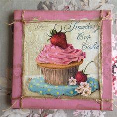 Cupcake, servetten plakken, canvas, schilderij