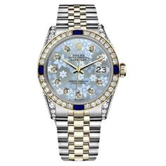 Pre-owned Rolex Datejust 2Tone 18K & Stainless Steel Ice Blue Flower... (152.900 CZK) ❤ liked on Polyvore featuring jewelry, watches, blue sapphire jewelry, stainless steel watches, stainless steel jewelry, blue diamond watches and diamond jewelry
