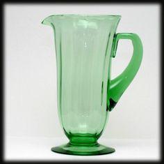 Fostoria Fairfax Green Elegant Glass Pitcher Vintage Glass 1920s